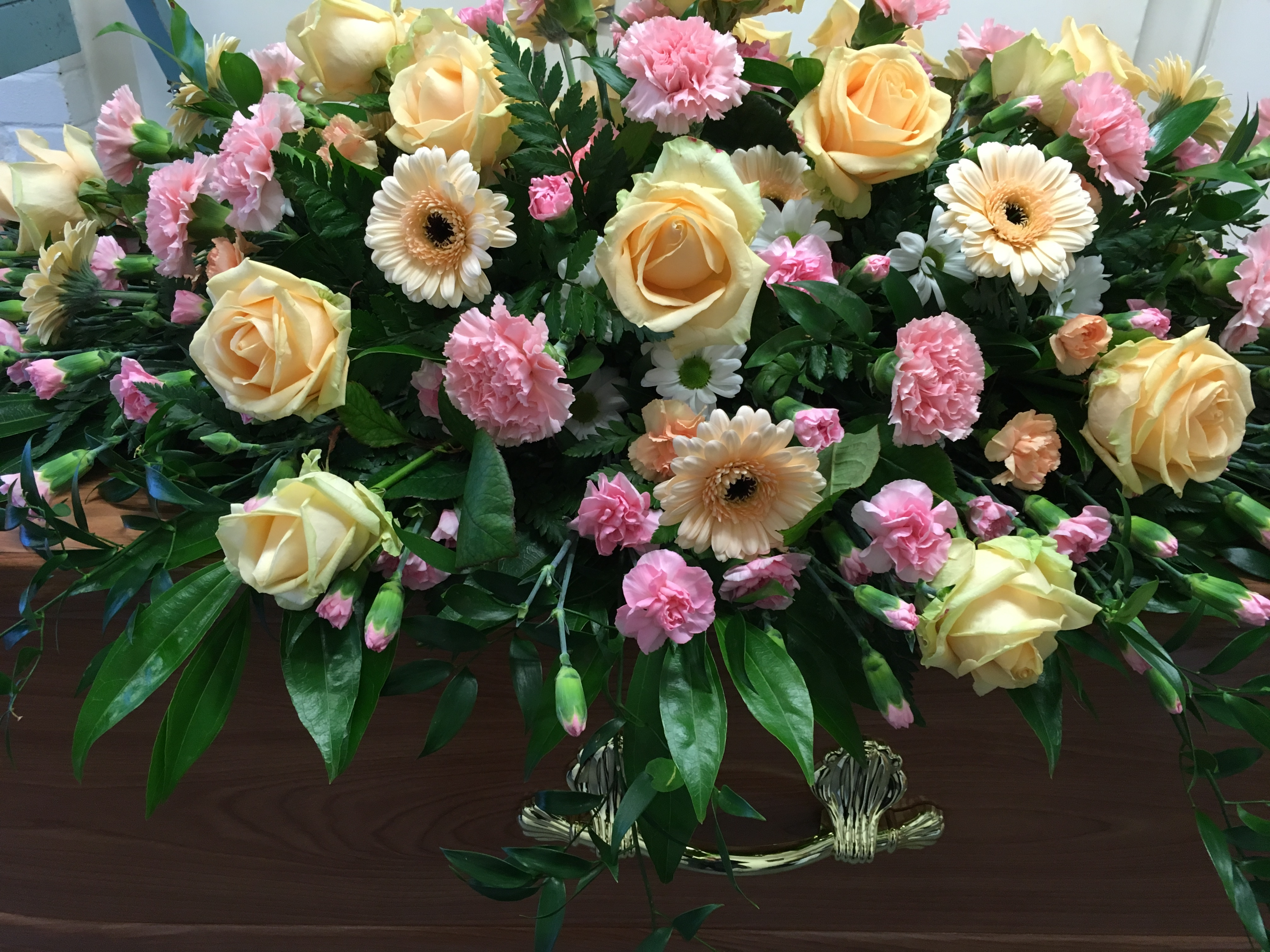 peach and pink coffin flowers