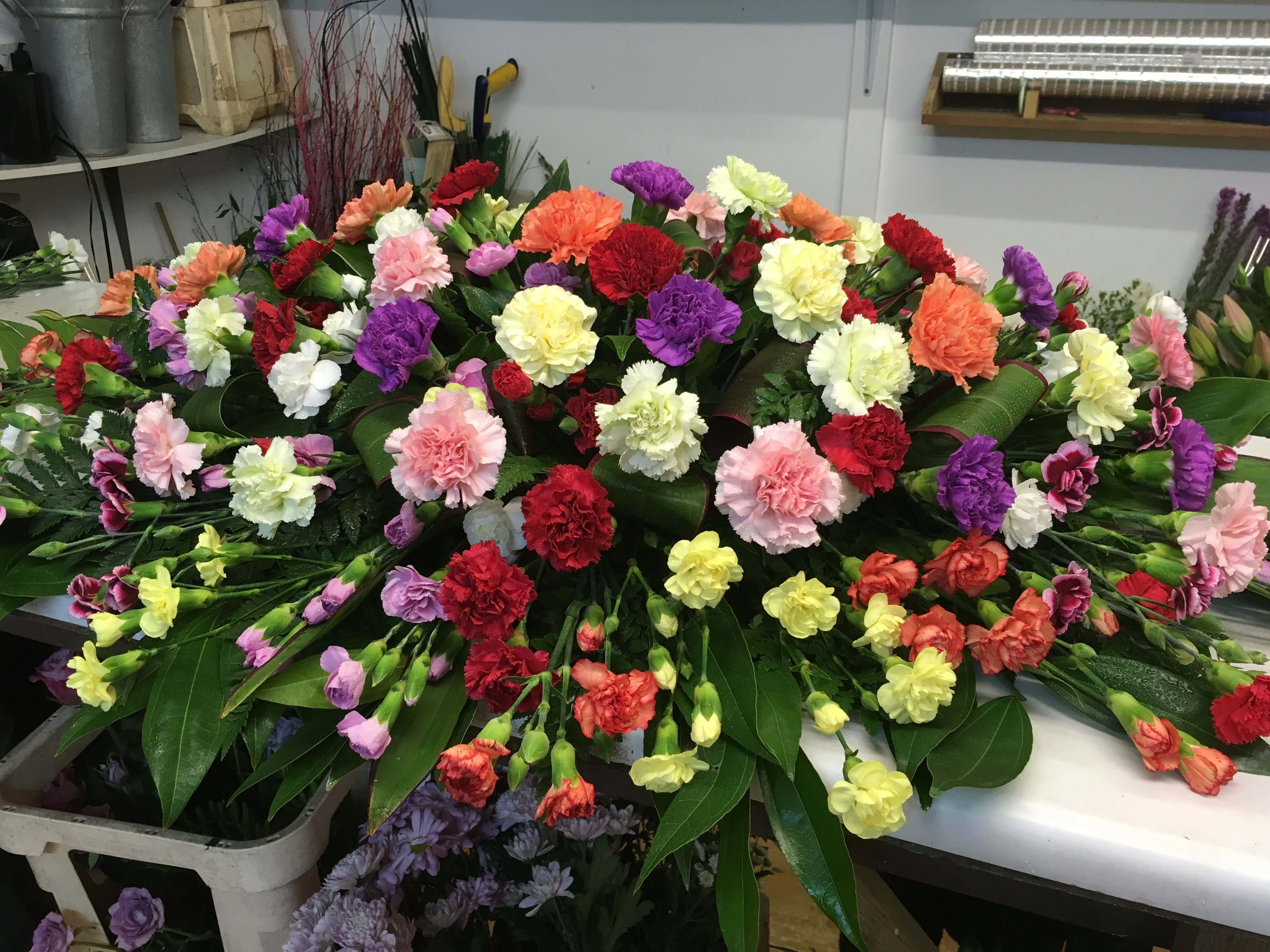 carnations mixed colours coffin flowers