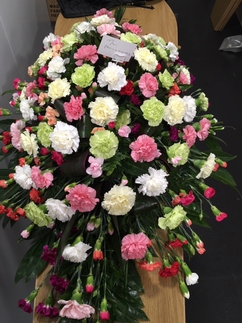Carnation mixed colours coffin flowers