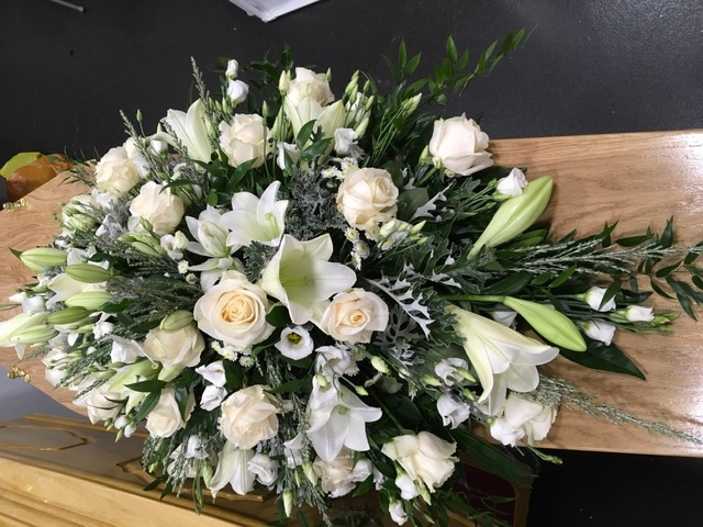 White Lily and Roses Casket Spray 2