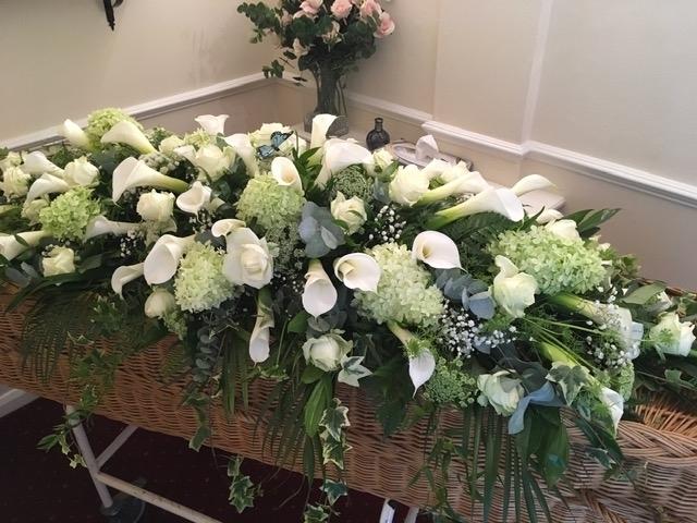 Elegant Calla Lily coffin Spray