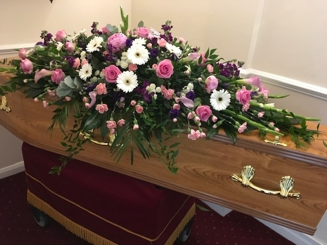 White and Pink Mixed Flower Casket Spray