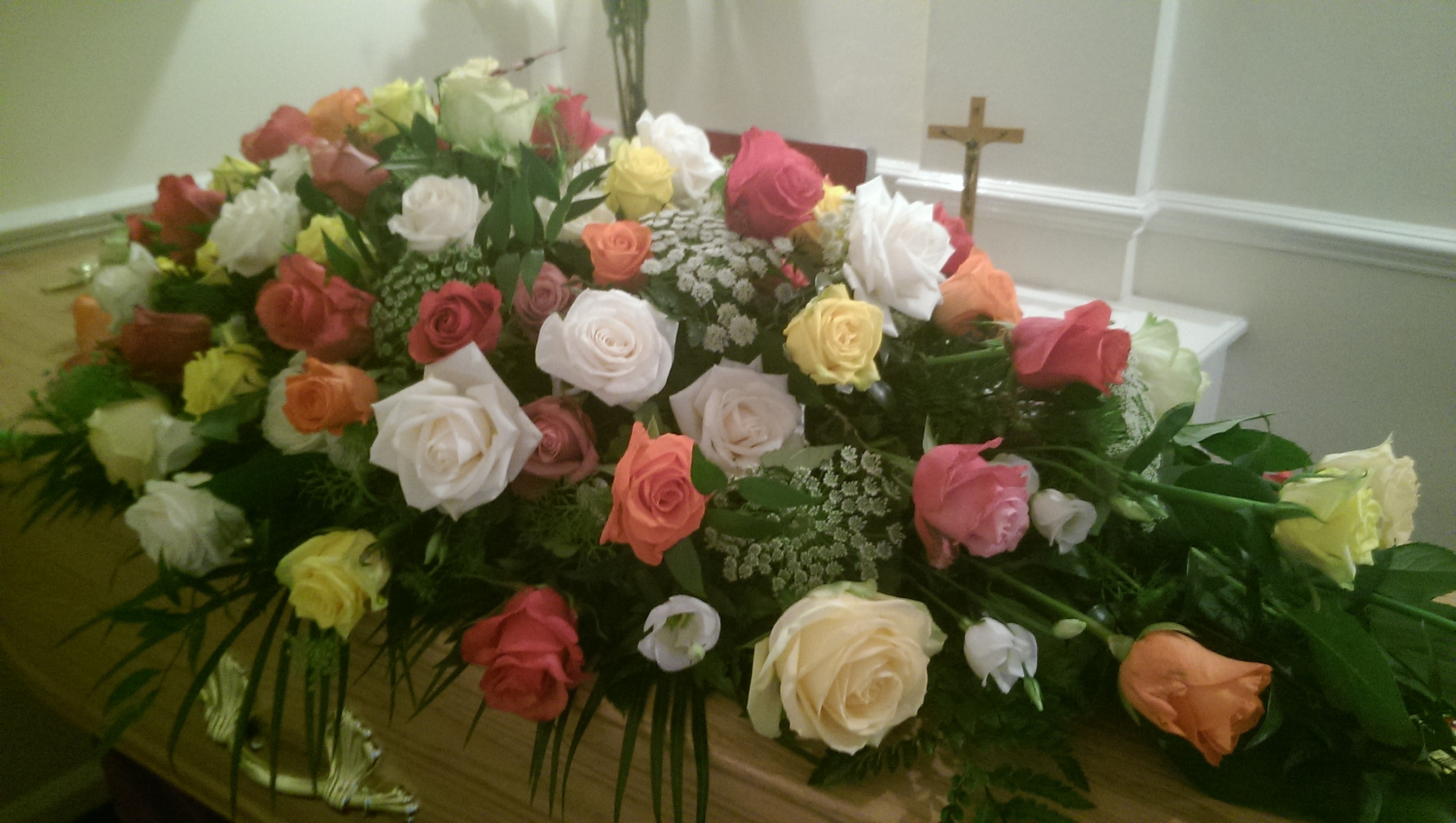 Mixed Roses Coffin Flowers