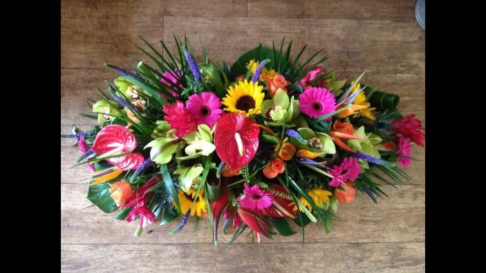 vibrant coffin flowers