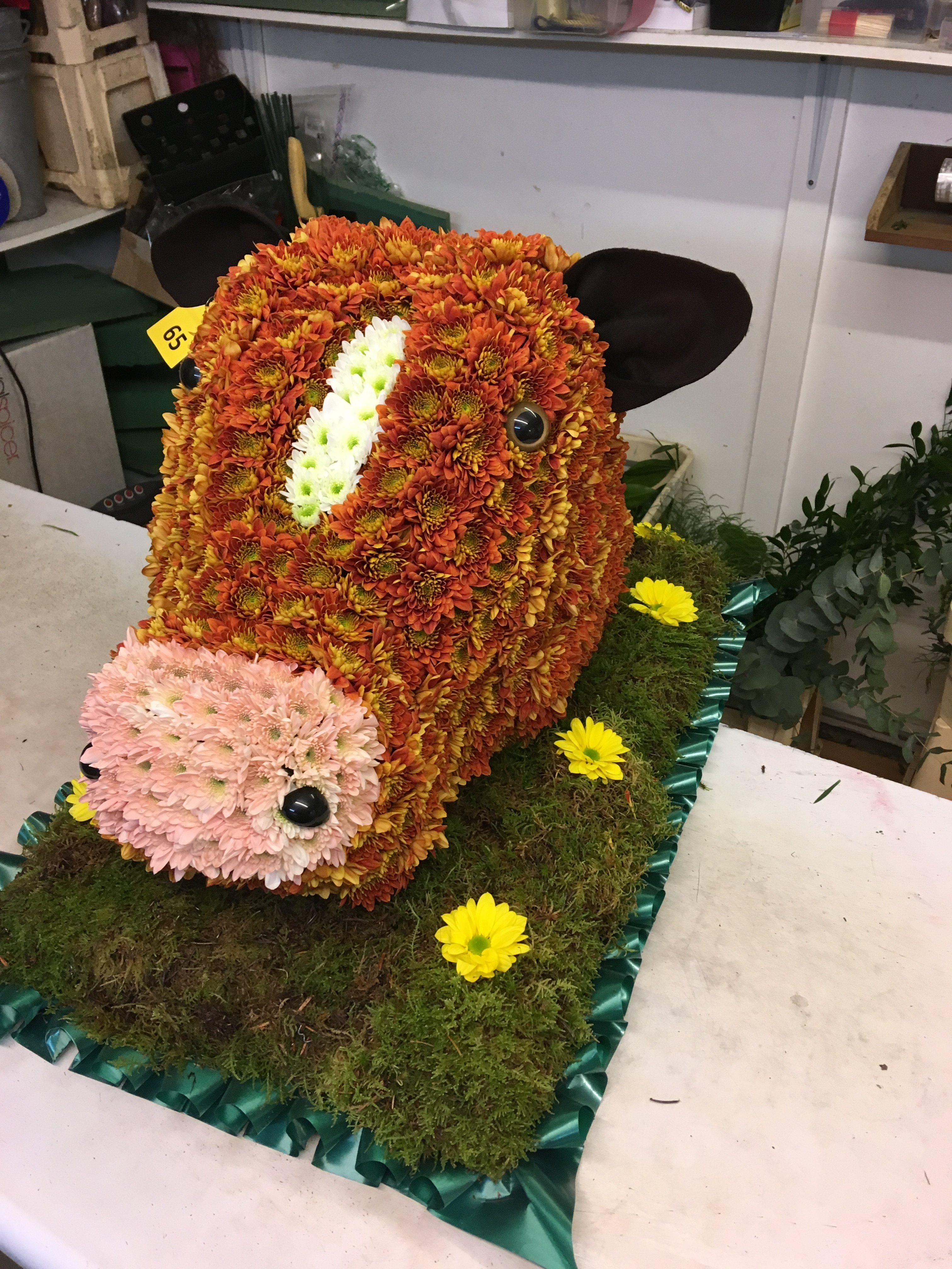 Cows Head made from flowers