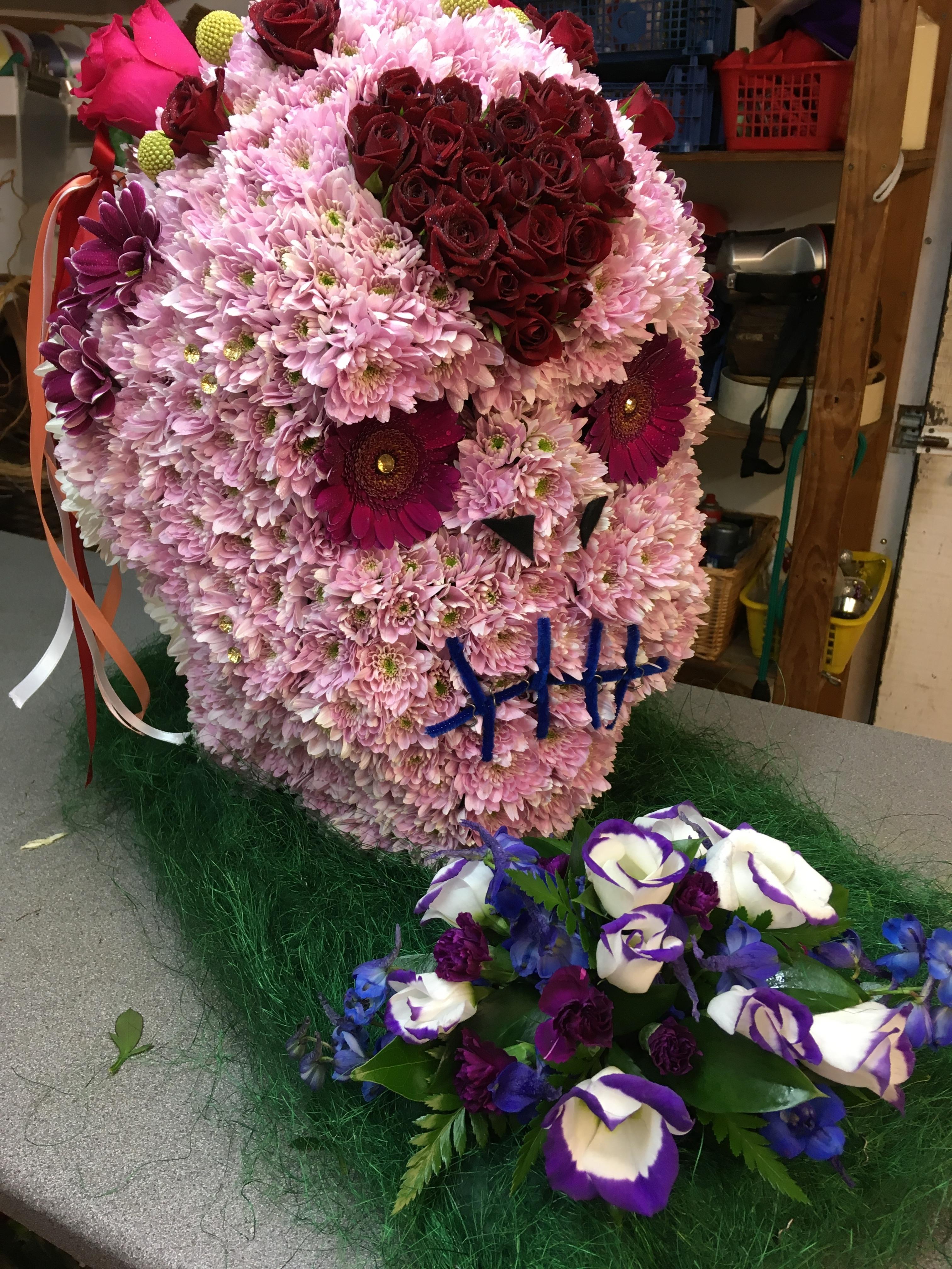 Skull made from flowers