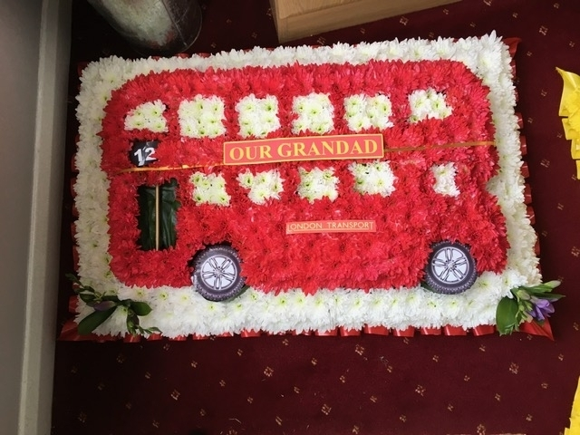 Bus made from flowers