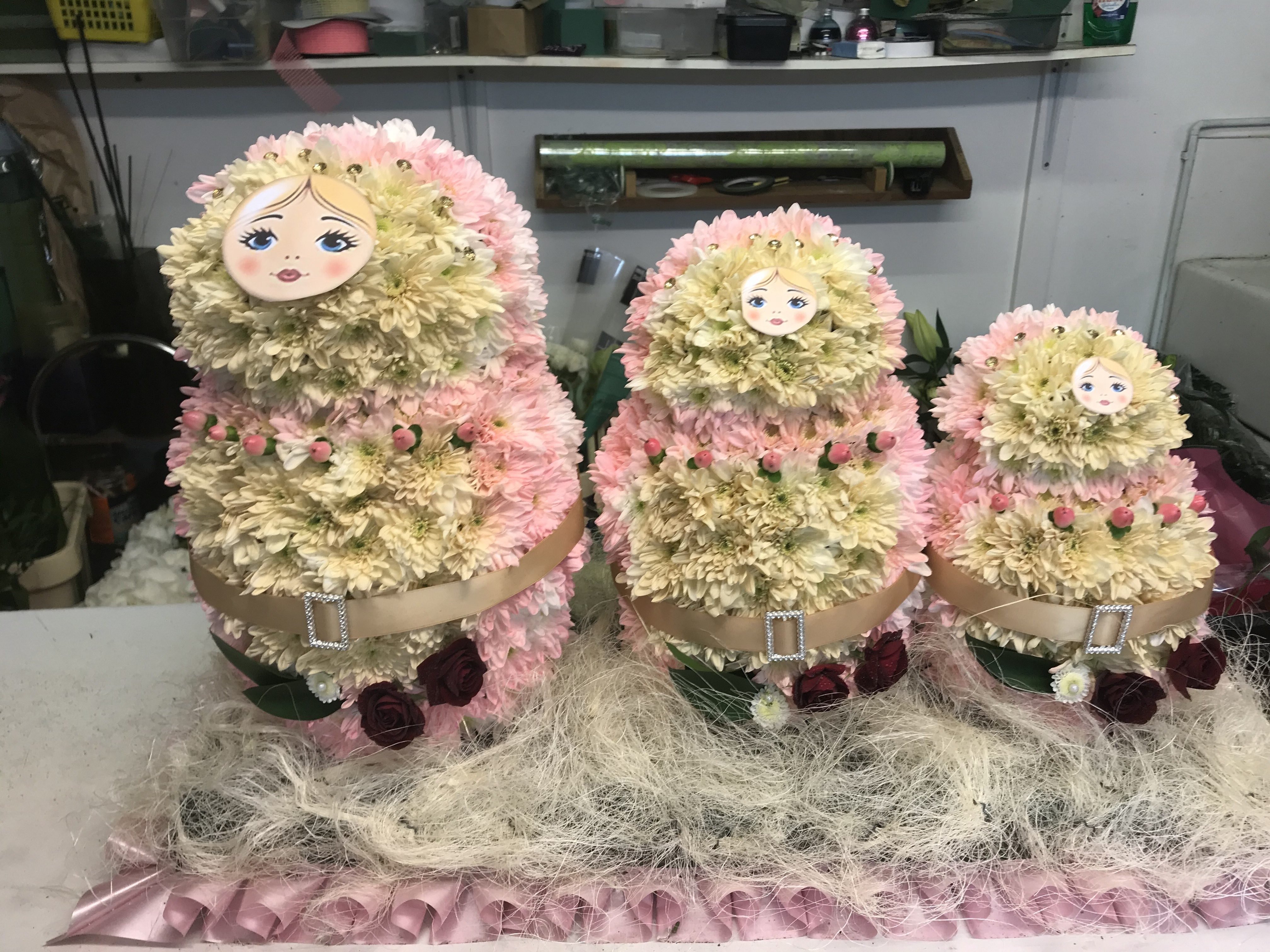 Russian Dolls made from flowers
