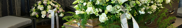 casket spray with white flowers